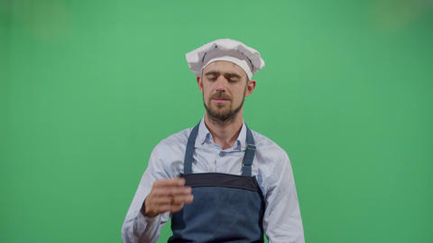 Adult Man Cook Smelling His Dirty Hands Live Action