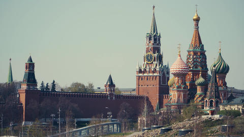 Towers of the Moscow Kremlin with chimes on one of the towers Live Action