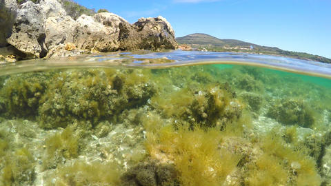 Split underwater view of Alghero clear water. Sardinia, Italy Footage
