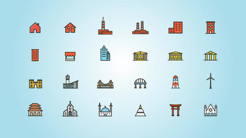 Buildings and Constructions Icons Pack Plantilla de After Effects