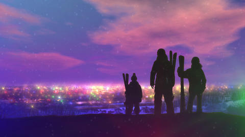 Family on evening skiing trip over Christmas Animation