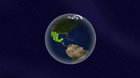 メキシコ グロー ハイライト 地球 ループ アニメーション CG動画