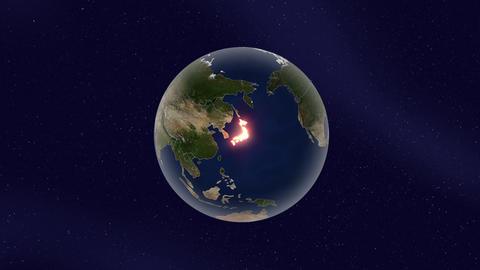 Earth japan high light glow loop animation Animation