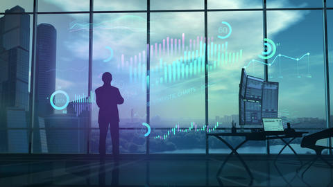 A businessman is carefully looking at financial data CG動画