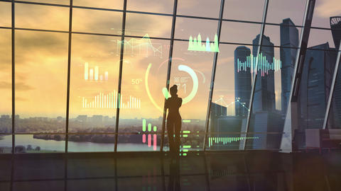 Female silhouette in office examines holographic infographic Animation