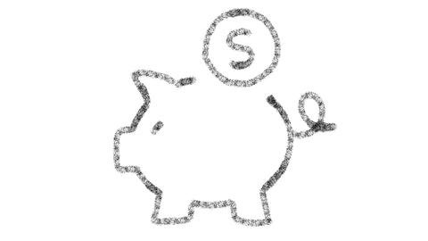 Piggy bank icon designed with drawing style on blackboard, animated footage GIF