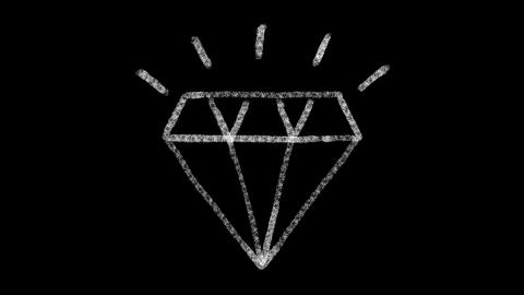 diamond icon designed with drawing style on chalkboard, animated footage ideal Live Action
