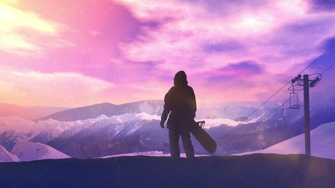Snowboarder on the background of a bright sunset in the mountains CG動画