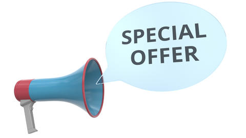 Blue megaphone with SPECIAL OFFER message on speech bubble. Conceptual 3D Footage