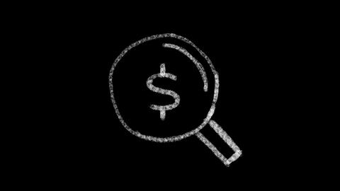 lens icon with dollar symbol drawn with drawing style on chalkboard, animated GIF