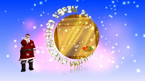 69 3D animated season greeting with Christmas and new yera with animated father Christmas Animation