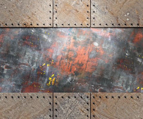 Rusty metal plates frame Photo
