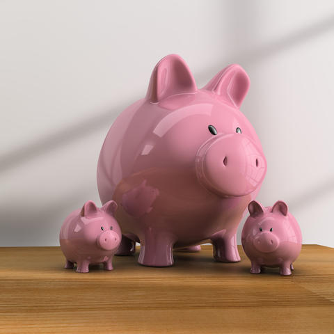 Table with piggy bank Photo