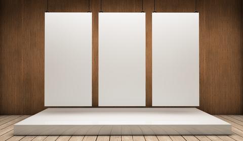 Three white expositors Fotografía