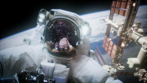 Astronaut at spacewalk. Elements of this image furnished by NASA Live Action