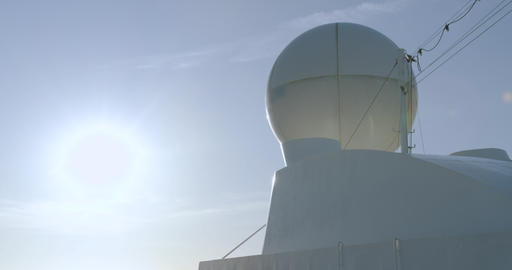 Radar antenna and control tower on a cruise ship Footage