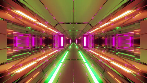 futuristic space hangar tunnel corridor with hot metal steal 3d rendering live CG動画