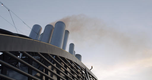 Exhaust smoke of a huge ocean giong cruise ship Footage