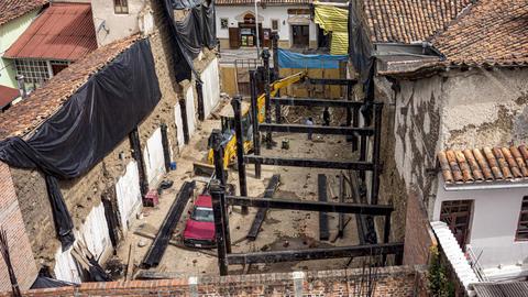 Cuenca, Ecuador - 2019-09-01- Apartment Construction Timelapse - Steel beams Footage