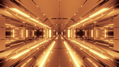 futuristic space hangar tunnel corridor with hot metal steal 3d rendering live Animation