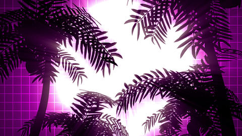 Retro futuristic background with palms Animation