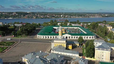Aerial view of historical center of Kostroma Footage