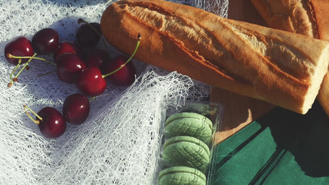 Gastronomic still life french picnic outdoors Live Action