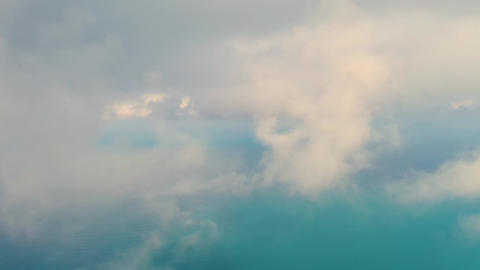 Drone flying in the clouds over the black sea panorama of the clouds Live Action