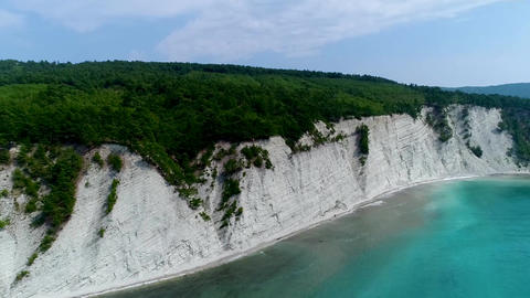 Black sea beach and high white cliffs of the black sea coast of the beautiful Live Action