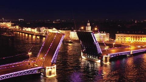 Aerial of drawn Palace bridge and Winter Palace Live Action