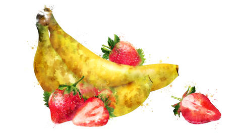 Watercolor appearance animation of the banana and strawberry CG動画