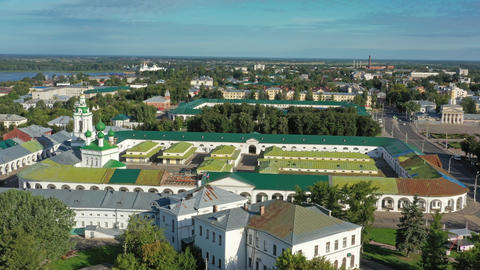 Aerial view of ancient Gostiny Dvor in Kostroma Footage