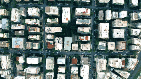 Aerial top down shot of streets and buildings pattern in Athens, Greece Footage