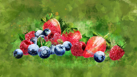 The appearance of the raspberries, blueberries and strawberries CG動画