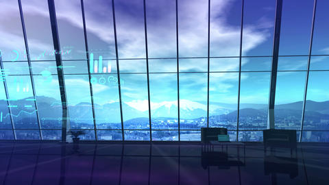 A male figure stands in an office with windows over the mountains CG動画