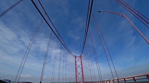 Driving on 25th of April bridge in Lisbon Footage