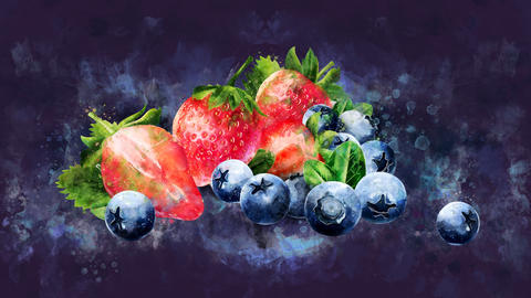 The appearance of the blueberries and strawberries on a watercolor background CG動画