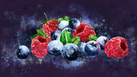 The appearance of the raspberries and blueberries CG動画