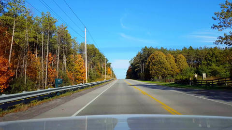 Rear View From Back of Car Driving Rural Countryside Road During Autumn Day. Car Point of View POV Live Action