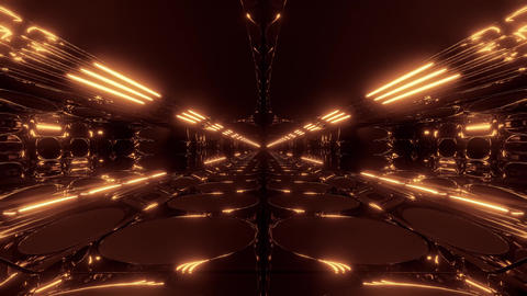 endless abstract alien scifi tunnel corridor with glowing lights and reflections Animation