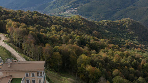 Hotel on a background of beautiful mountains. Mountains in Sochi. Gorki is a Live Action