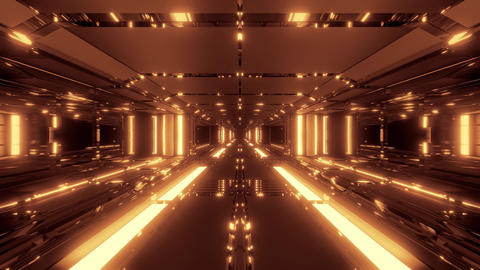 endless futuristic scifi science-fiction space tunnel corridor space hangar 3d Animation