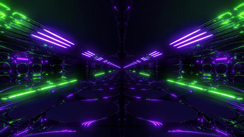 endless abstract alien scifi tunnel corridor with glowing lights and reflections CG動画