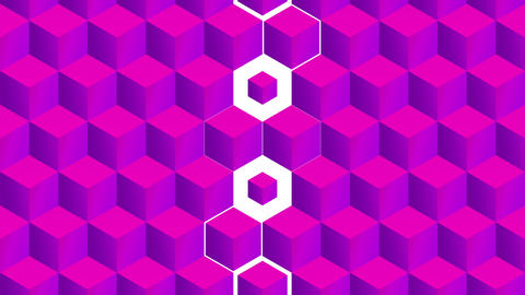 Isometric pink cubes pattern vertical transition including luma matte Animation