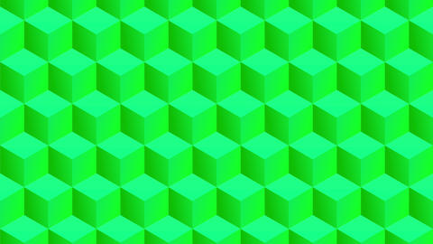 Isometric green cubes pattern moving vertically. Seamless loop Animation