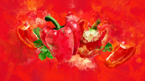 The appearance of the red pepper on a watercolor background CG動画