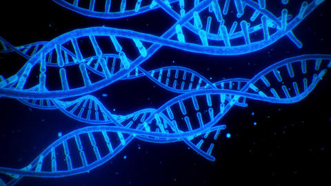 3D Blue DNA Spirals Animation Loop Motion Background Animation
