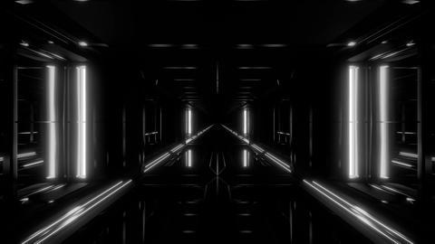 endless futuristic scifi science-fiction tunnel corridor space hangar 3d Animation