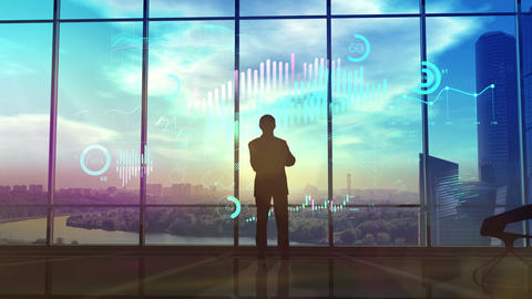 Businessman in office with sunset view analyzes infographic Animation