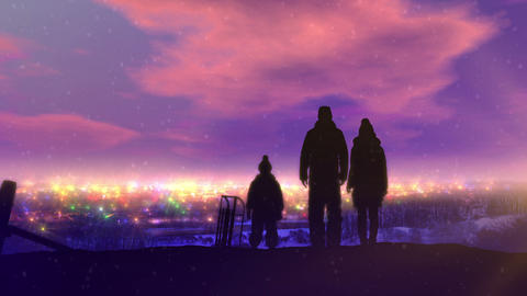 Family on a walk in the snowy Christmas CG動画